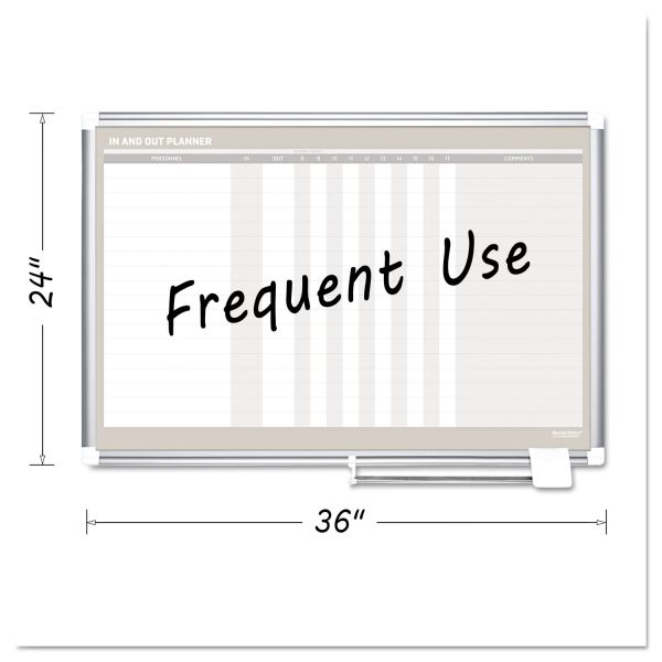 MasterVision In-Out Magnetic Dry Erase Board, 36x24, Silver Frame