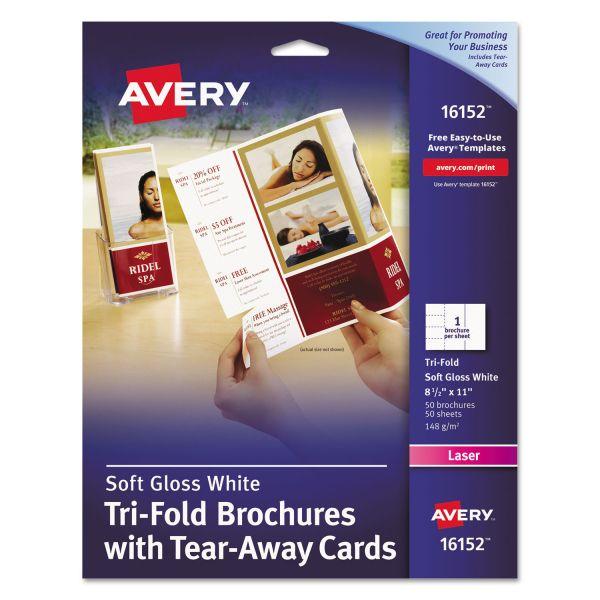 Avery Tri-Fold Brochure Paper w/Tear-Away Cards