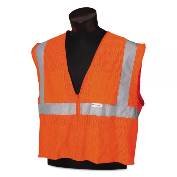 Jackson Safety* ANSI Class 2 Deluxe Safety Vest, XL/2XL, Orange/Silver