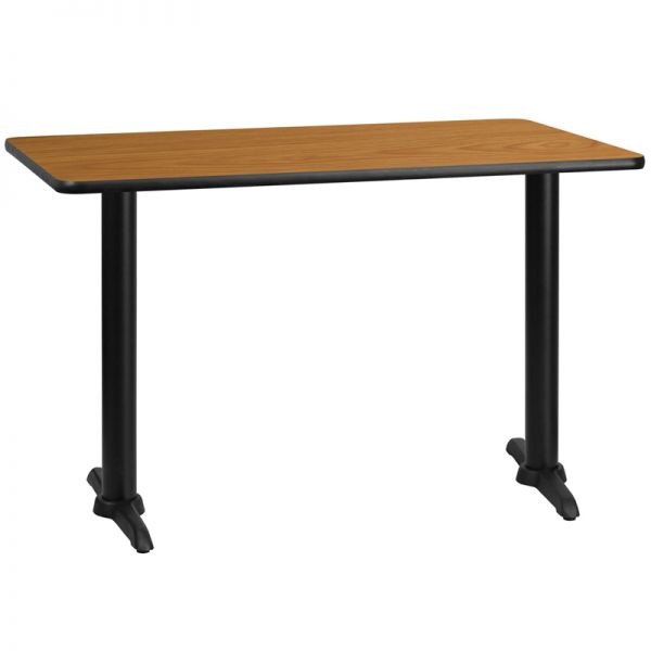Flash Furniture 30'' x 48'' Rectangular Natural Laminate Table Top with 5'' x 22'' Table Height Bases