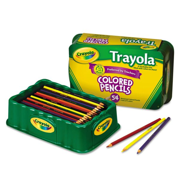 Crayola Colored Wood Pencil Trayola, 3.3 mm, 9 Assorted Colors, 54 Pencils/Set