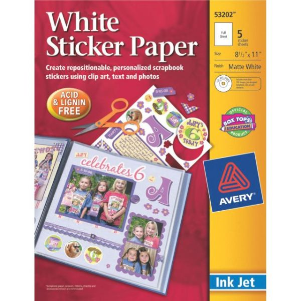 "Ink Jet Sticker Paper W/CD 8.5""X11"""