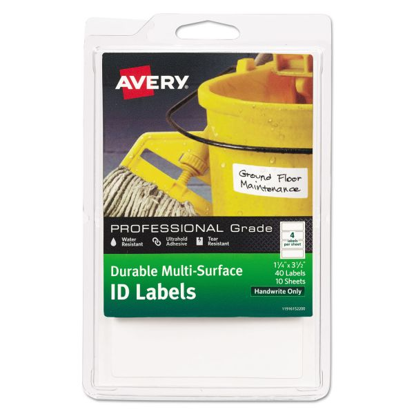 Avery Durable Multi-Surface ID Labels, 1 1/4 x 3 1/2, White, 40/Pack