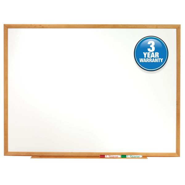 Quartet Classic Series Melamine Whiteboard, 96 x 48, Oak Finish Frame
