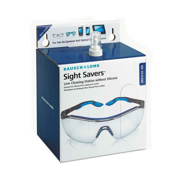 Bausch & Lomb Sight Savers Non-Silicone Lens Cleaning Station, 16oz Pump Bottle, 1520 Tissues