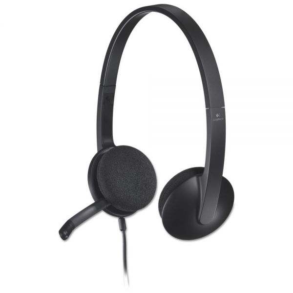 Logitech H340 Corded Headset, USB, Black