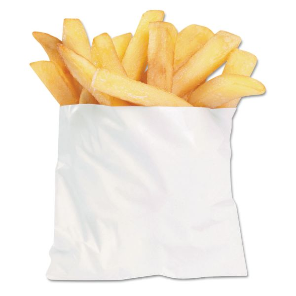 Bagcraft PB3 French Fry Bags, 4 1/2 x 2 x 3 1/2, White, 2000/Carton