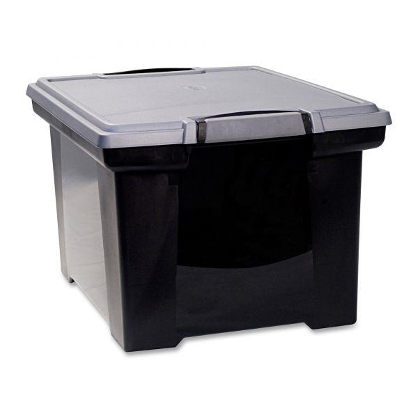 Storex Portable File Tote w/Locking Handle