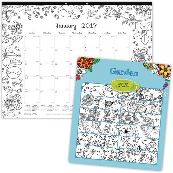 Blueline Garden Design Monthly Coloring Desk Pad Calendar