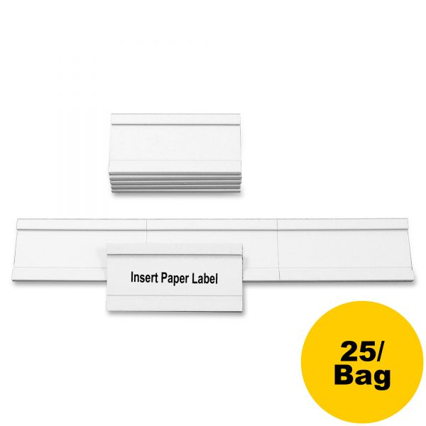 MasterVision Magnetic Card Holders, 2w x 1h, White, 25/Pack