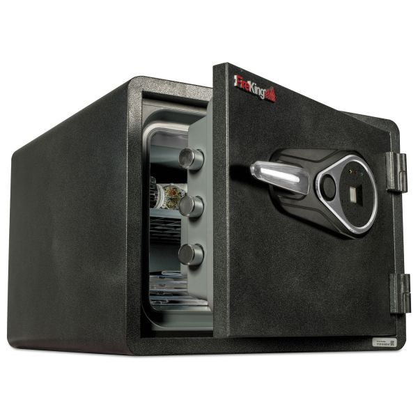 FireKing One Hour Fire and Water Safe w/Biometric Fingerprint Lock, 0.85 cu. ft, Graphite