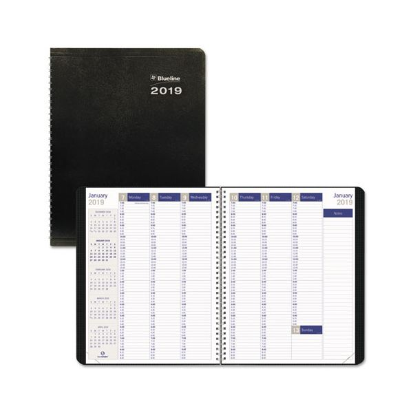 Blueline DuraGlobe Weekly Planner, 15-min Appointments, 11 x 8 1/2, Black, 2019