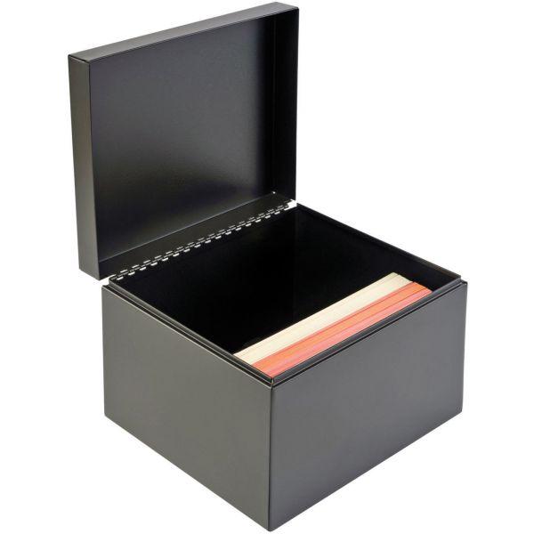 SteelMaster Index Card File w/Follow Block, Holds 900 6 x 9 Cards, Black
