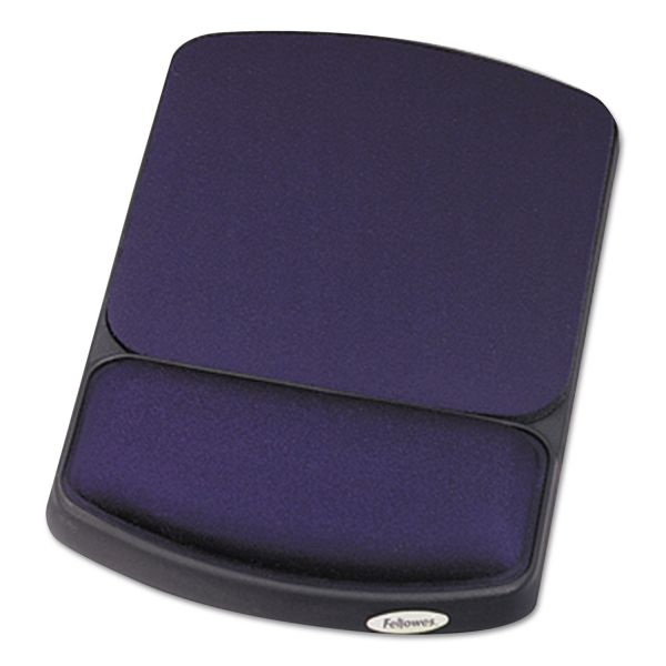 Fellowes Gel Mouse Pad w/Wrist Rest, 6 1/4 x 10 1/8, Sapphire/Black