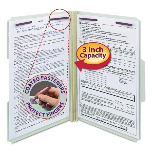 Smead Three Inch Expansion Fastener Folder, 1/3 Top Tab, Legal, Gray Green, 25/Box
