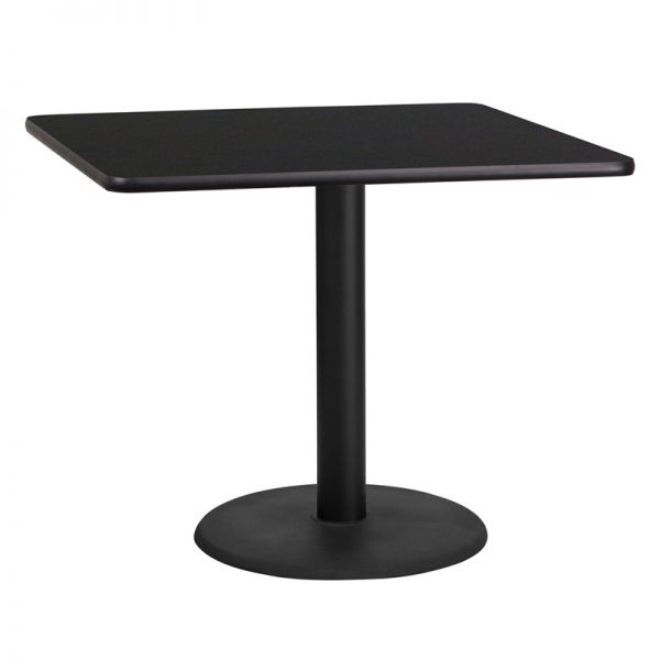Flash Furniture 36'' Square Black Laminate Table Top with 24'' Round Table Height Base
