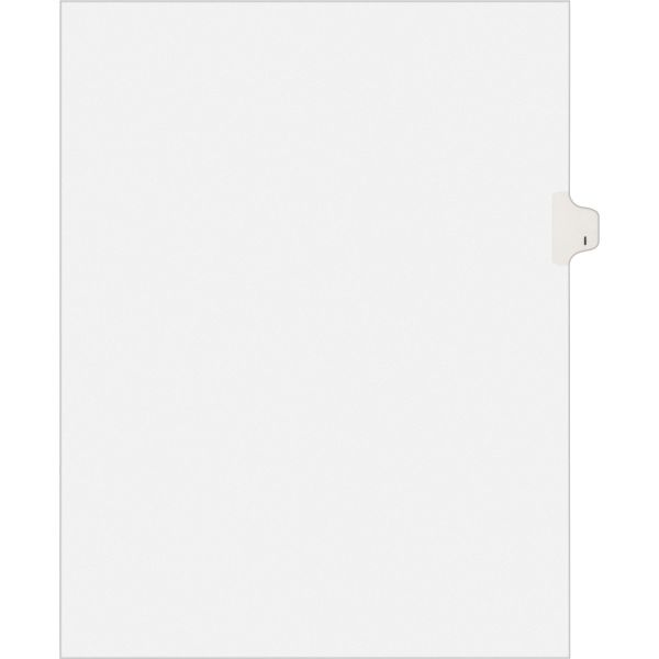 Avery-Style Legal Exhibit Side Tab Dividers, 1-Tab, Title I, Ltr, White, 25/PK