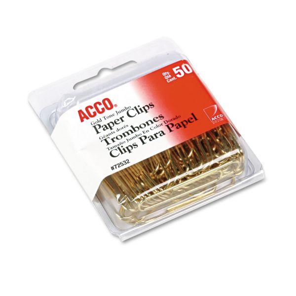 "ACCO Paper Clips, Metal Wire, Jumbo, 1 3/4"", Gold Tone, 50/Box"