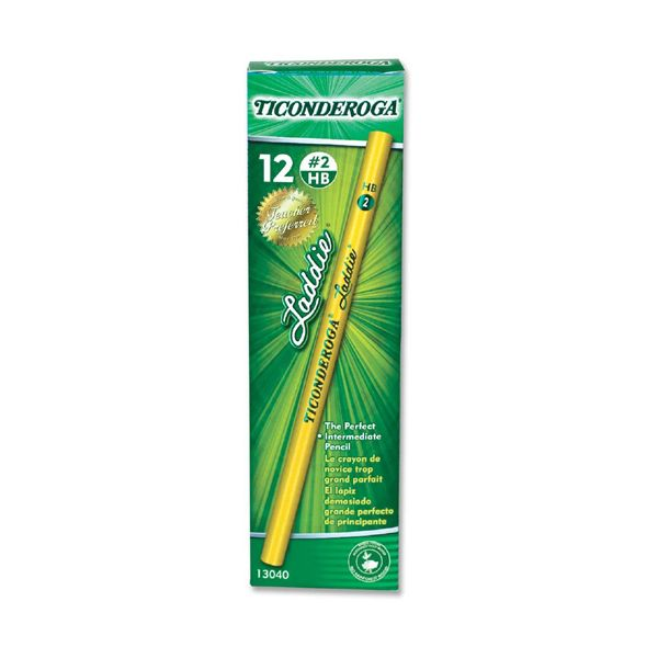 Dixon Ticonderoga Laddie Woodcase Pencil w/o Eraser, HB #2, Yellow, Dozen