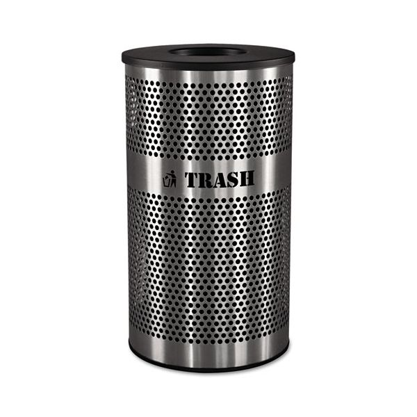 Ex-Cell Stainless Steel Trash Receptacle, 33gal, Stainless Steel