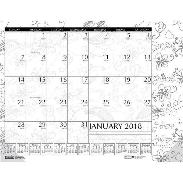 House of Doolittle Doodle Monthly Desk Pad Calendar