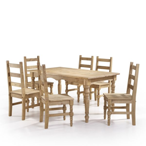 Phenomenal Manhattan Comfort Jay 7 Piece Solid Wood Dining Set With 6 Chairs And 1 Table In Nature Ibusinesslaw Wood Chair Design Ideas Ibusinesslaworg