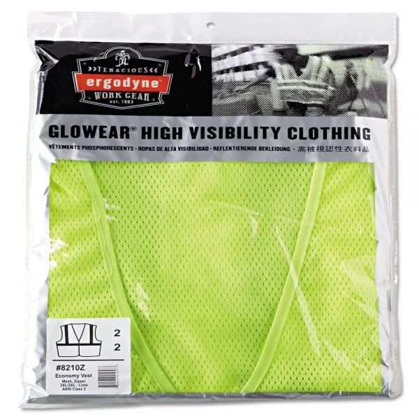 ergodyne GloWear 8210Z Class 2 Economy Vest, Polyester Mesh, Zipper Closure, Lime, 2L/3XL