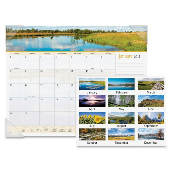 Visual Organizer Panoramic Landscape Monthly Desk Pad Calendar