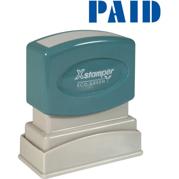 Xstamper Blue PAID Title Stamp