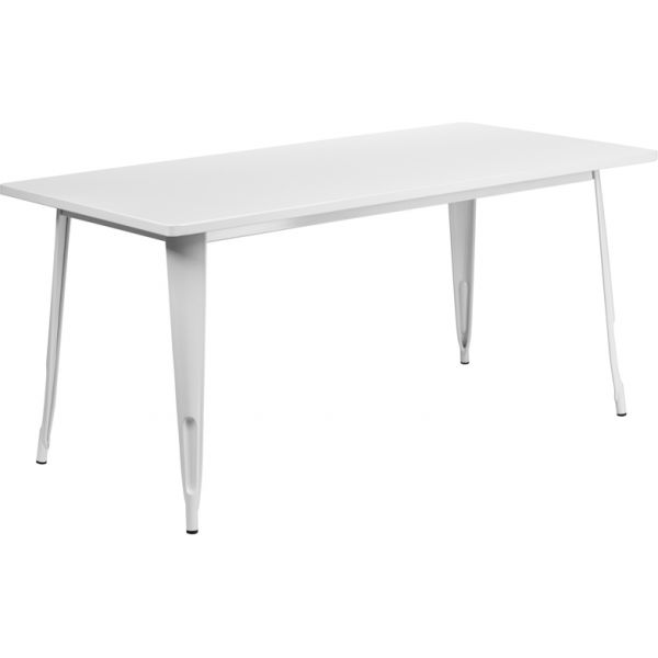 Flash Furniture 31.5'' x 63'' Rectangular White Metal Indoor-Outdoor Table