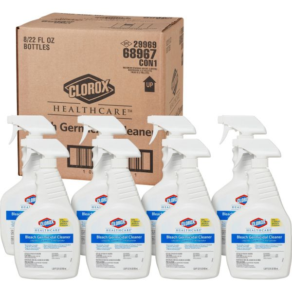 Clorox Healthcare Bleach Germicidal Cleaner, 22  oz Spray Bottle, 8/Carton
