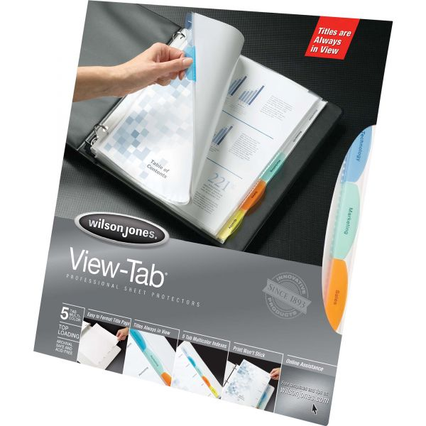 Wilson Jones Top Loading View-Tab Sheet Protectors