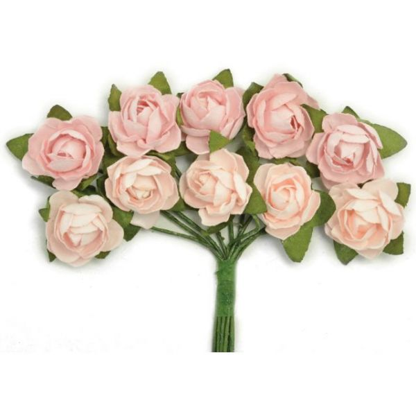 "Mini Paper Blooms .5"" Flowers W/Wire Stems 10/Pkg"