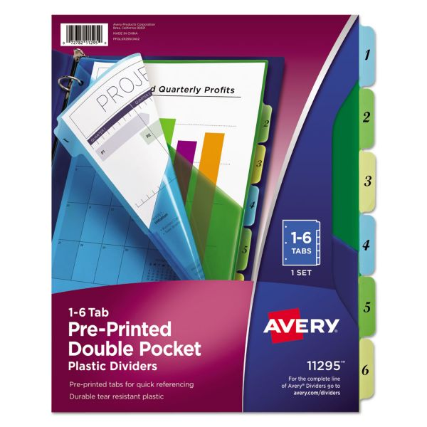 Avery Preprinted Double Pocket Numbered Tab Index Dividers
