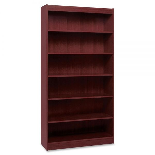 Lorell Panel End 6-Shelf Hardwood Veneer Bookcase