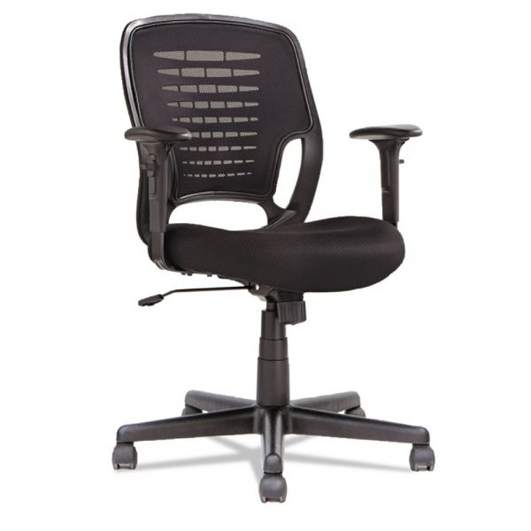 OIF Swivel/Tilt Mesh Task Chair, Height Adjustable T-Bar Arms, Black