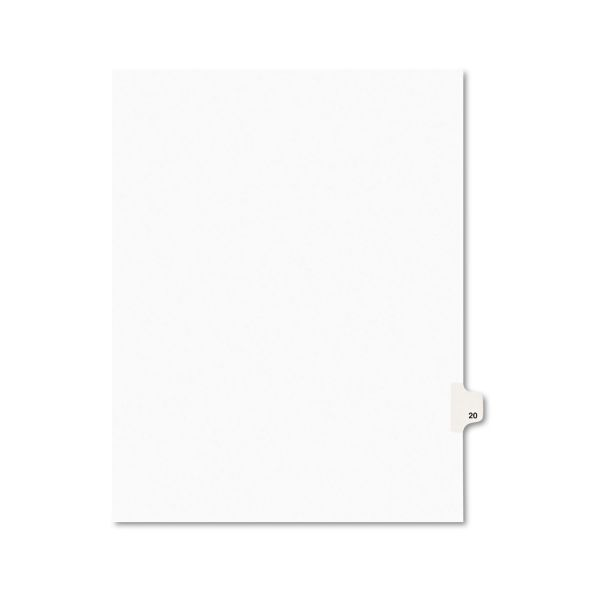 Avery-Style Legal Exhibit Side Tab Divider, Title: 20, Letter, White, 25/Pack