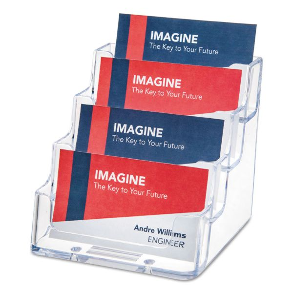 deflecto Four-Pocket Countertop Business Card Holder, Holds 200 2 x 3 1/2 Cards, Clear