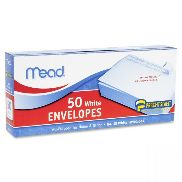 Mead Plain White Self-Seal Business Envelopes