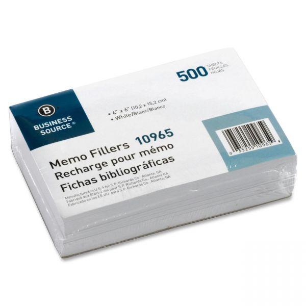 Business Source Unruled Memo Filler Sheets