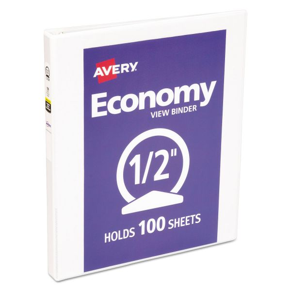 "Avery Economy 3-Ring View Binder, 1/2"" Capacity, Round Ring, White"