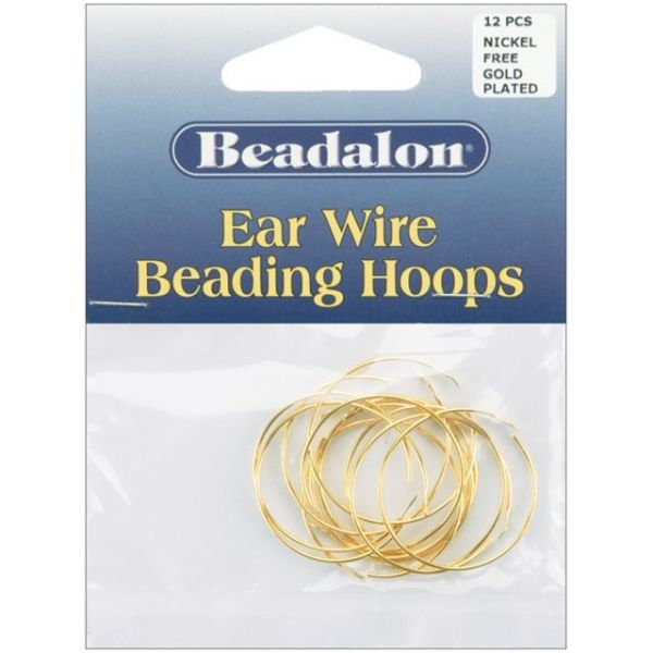 Beadalon Ear Wire Beading Hoops Medium 25mm 12/Pkg
