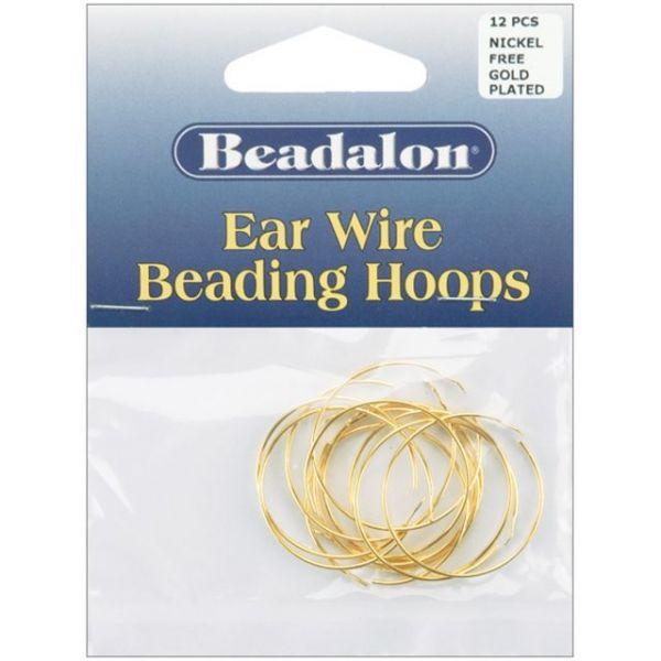 Beadalon Ear Wire Beading Hoops Medium 25mm 12/Pkg