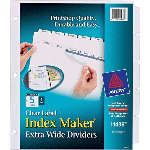 Avery Print & Apply Clear Label Dividers, 5-Tab, White Tab, Letter, 1 Set