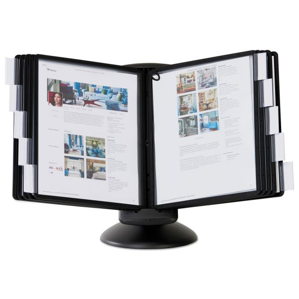 Durable SHERPA Motion Desk Reference System, 10 Panels, Black Borders