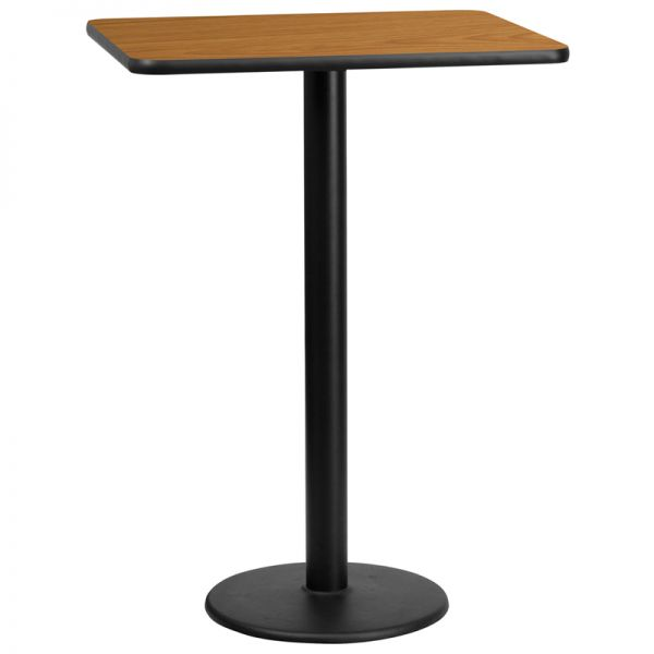 Flash Furniture 24'' x 30'' Rectangular Natural Laminate Table Top with 18'' Round Bar Height Table Base