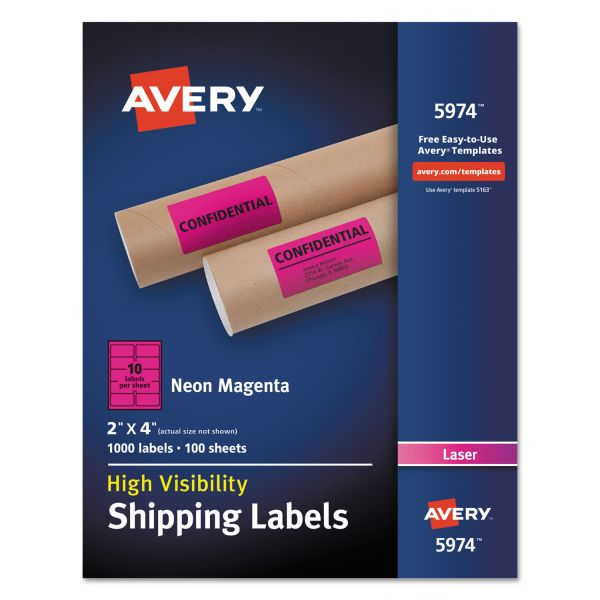 Avery Neon Shipping Label, Laser, 2 x 4, Neon Magenta, 1000/Box