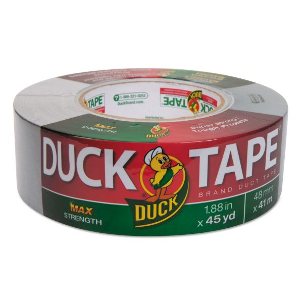 """Duck Maximum Strength Duct Tape, 11.5mil, 1.88"""" x 45yd, 3"""" Core, Silver"""