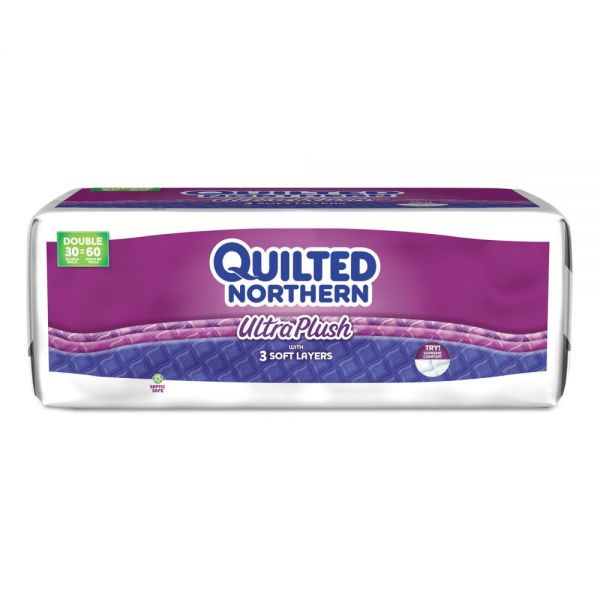 Quilted Northern Ultra Plush Bathroom Tissue, 3-Ply, 4 x 4, White, 165/Roll, 30/Carton