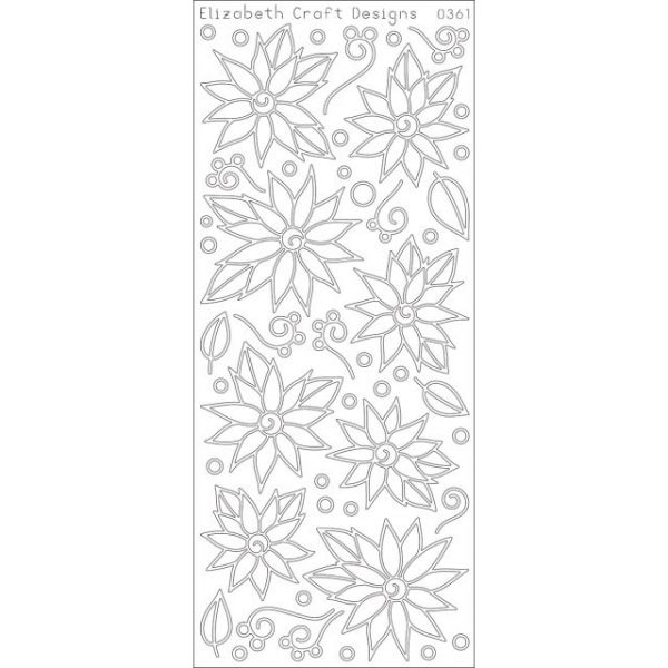 Daisies/Poinsettias W/Doodles Peel-Off Stickers